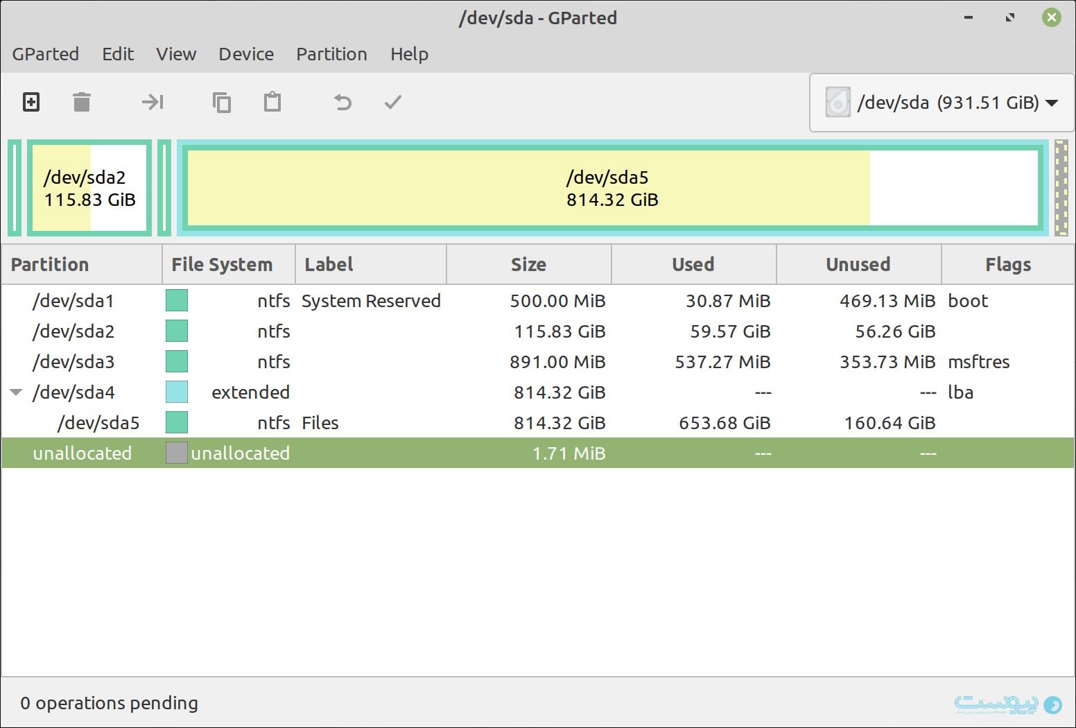 نرمافزار Gparted در لینوکس مینت